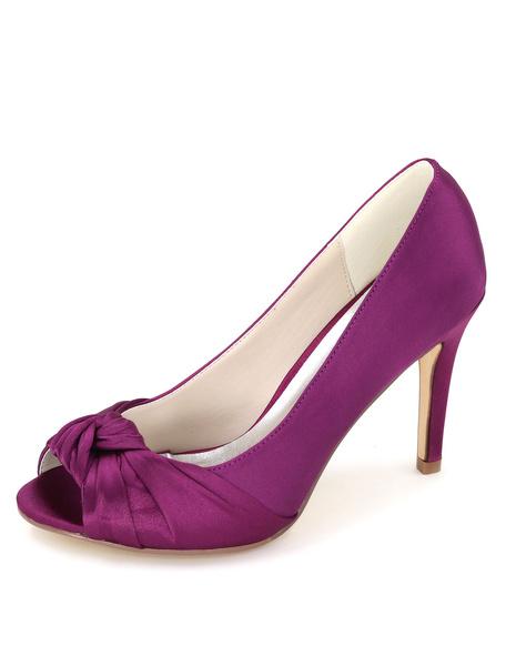 Milanoo Peep Wedding Shoes Twisted Detail Satin High Heel Bridal Shoes