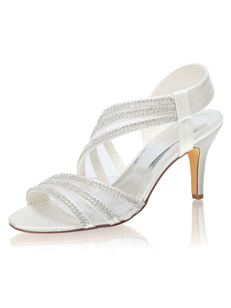 Milanoo Wedding Sandals Rhinestones Peep Toe Bridal Shoes