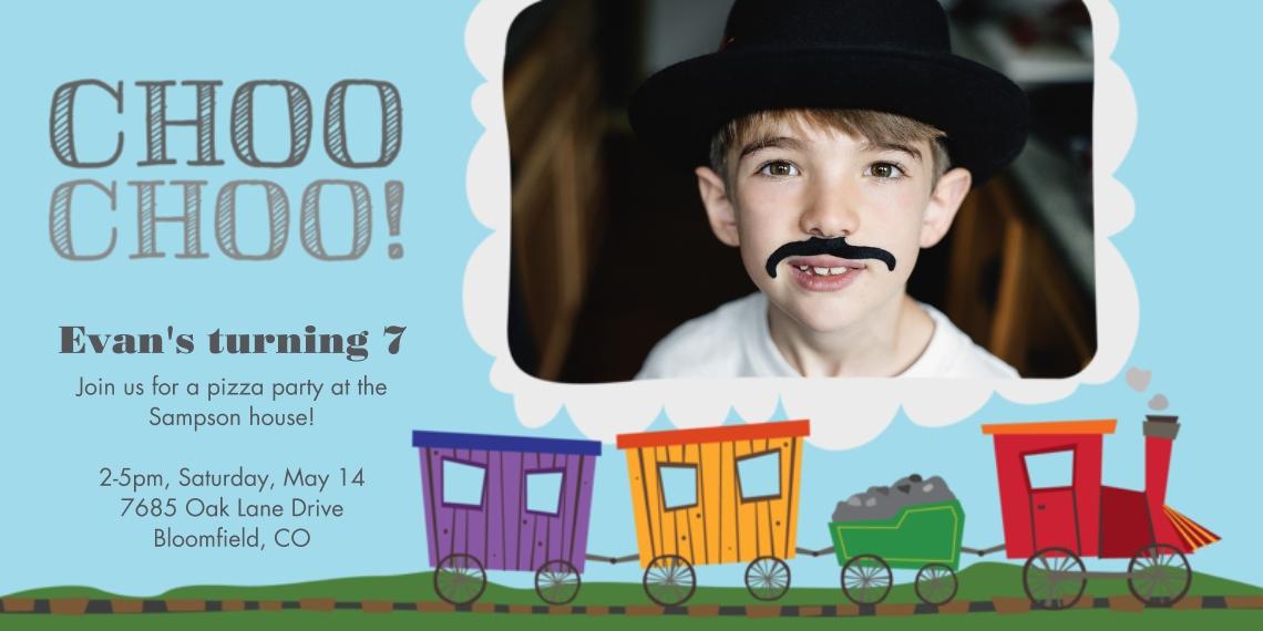 Kids Birthday Party Invites 4x8 Flat Card Set, 85lb, Card & Stationery -All Aboard Birthday