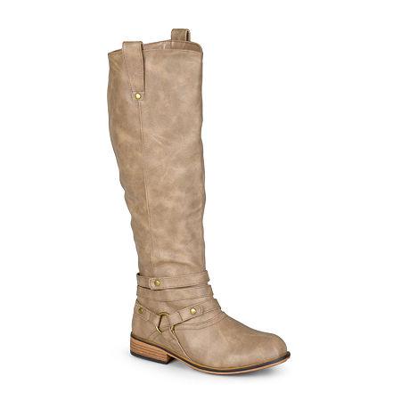 Journee Collection Womens Walla Wide Calf Riding Boots, 9 1/2 Medium, Beige