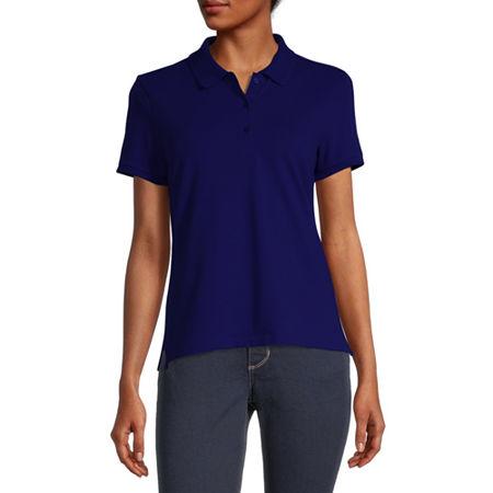 Arizona Juniors Womens Short Sleeve Knit Polo Shirt, Medium , Blue
