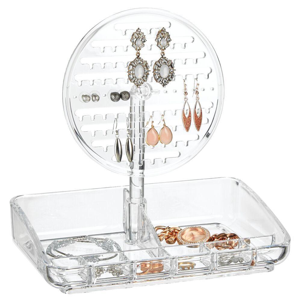 Acrylic Round Jewelry Earring Display Stand & Storage Tray 6.5