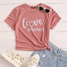 Letter and Heart Print Top