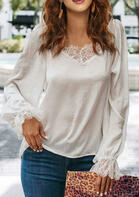 Lace Splicing Elastic Cuff Blouse - White