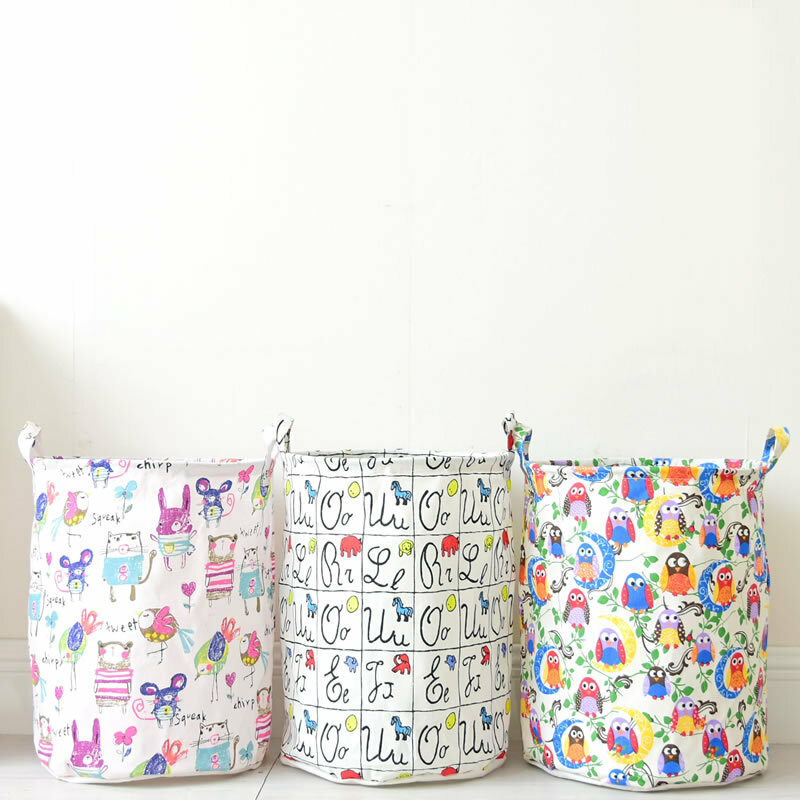 Cartoon Printed Cotton And Linen Laundry Storage Basket Folding Fabric Waterproof Laundry Basket