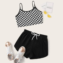 Check Print Cami Top & Sweat Shorts Set