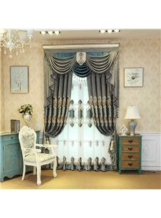 Luxurious High Quality Embroidered Floral Decorative Custom Sheer Curtains