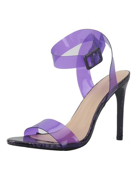 Milanoo High Heel Sandals Womens Clear Open Toe Slingback Stiletto Heel Sandals