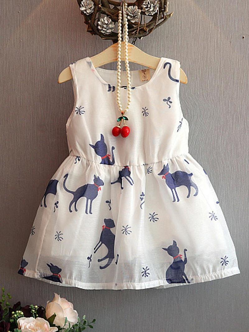 Ericdress A-Line Animal Print Pullover Girl's Sleeveless Dress