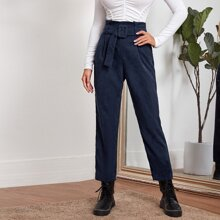 Fold Pleated Buckle Belted Cord Pants