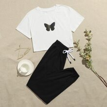 Butterfly Print Tee & Pants PJ Set