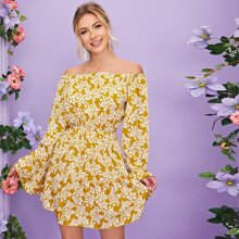 Off Shoulder Ruffle Hem Flounce Sleeve Floral Dress