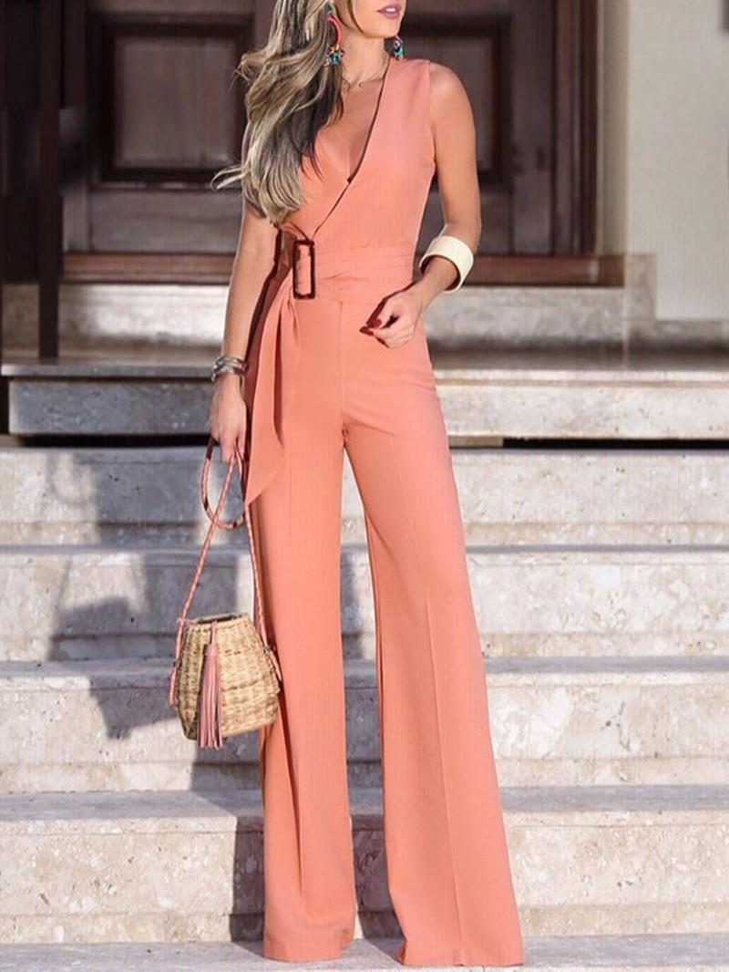 Ericdress Dressy Plain Belt Office Lady Slim Jumpsuit