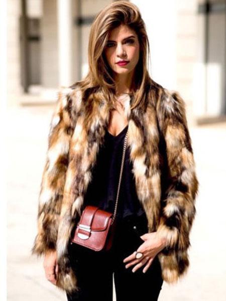 Milanoo Multicolor Faux Fur Coat Women Brown Color Block Long Sleeve Winter Coat