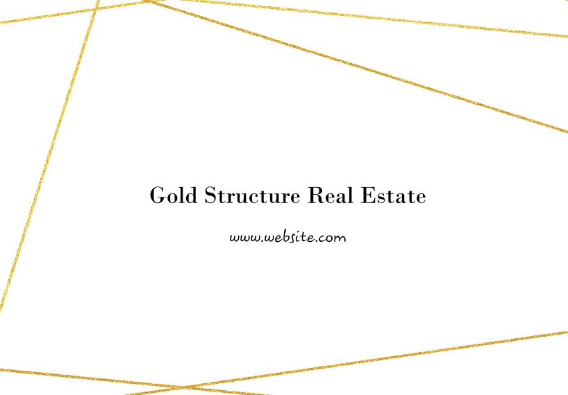 Real Estate 3.5x5 Folded Business Notecard, Set of 20, Business Printing -Minimal Gold Structure