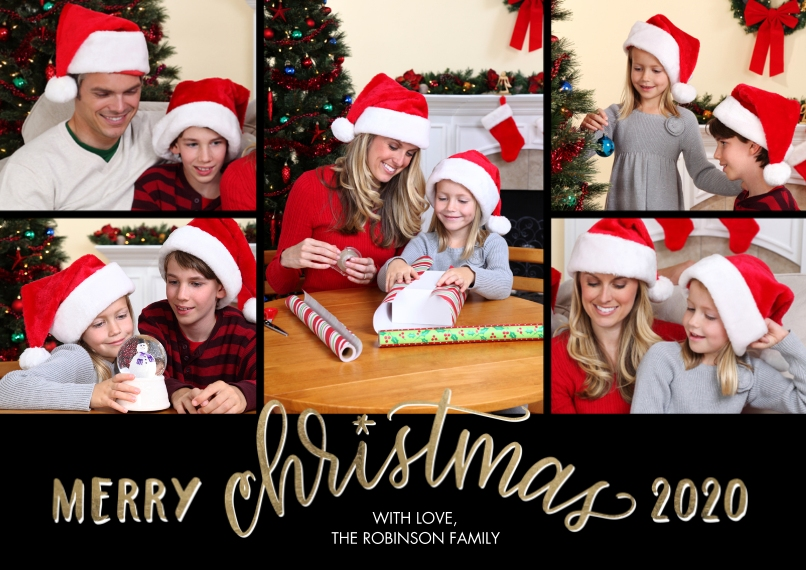 Christmas Photo Cards 5x7 Cards, Premium Cardstock 120lb with Scalloped Corners, Card & Stationery -2020 Merry Script Christmas by Tumbalina