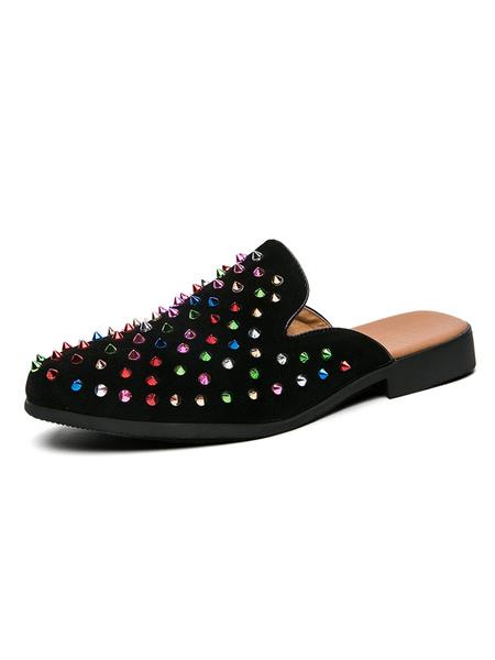 Milanoo Men\'s Sandals Slip-On Artwork StuddedRivets PU Leather Rubber Sole Spike Mules
