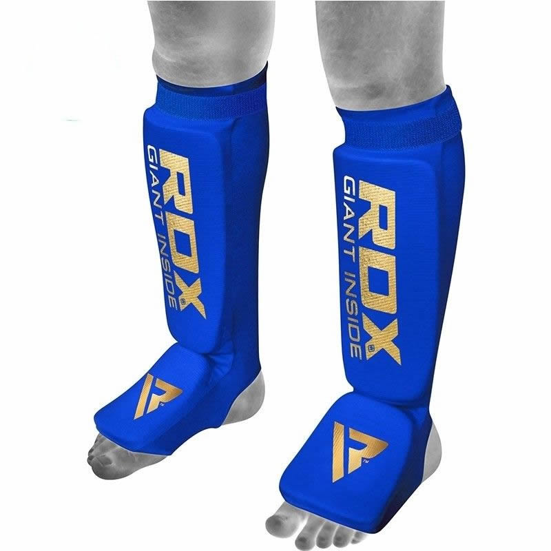 RDX SI Shin Instep Protection Guards Hosiery Large Blue/Golden