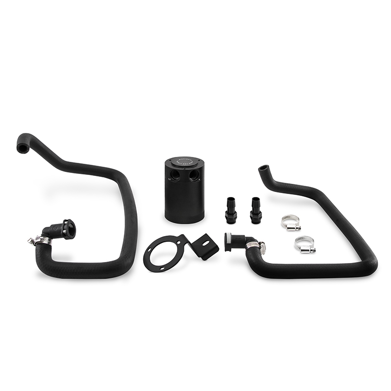Mishimoto MMBCC-MUS4-15PBE Baffled Oil Catch Can Kit (Black) Ford Mustang EcoBoost 2015+