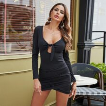 Peekaboo Knot Front Ruched Bodycon Dress