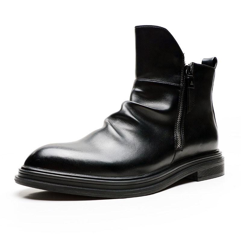 Ericdress Plain Side Zipper Pointed Toe Men's Boots