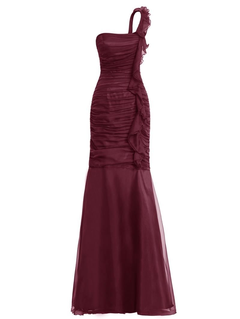 Ericdress One Shoulder Ruffles Sheath Evening Dress