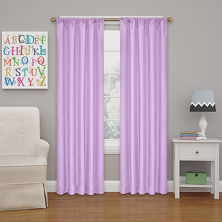 Eclipse Kids' Kendall Rod-Pocket Blackout Curtain Panel, One Size , Purple