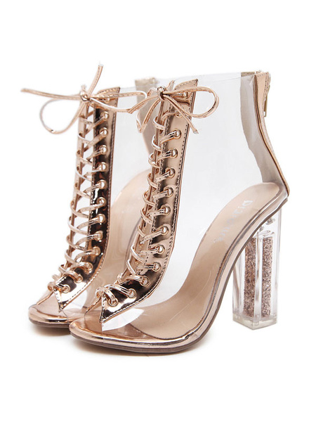 Milanoo Women Ankle Boots Lace Up Peep Toe Sandal Transparent Upper Booties Chunky Heel Sandal Boots