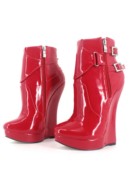 Milanoo Red Sexy Boots Women Platform Pointed Toe Buckle Detail Zip Up Booties