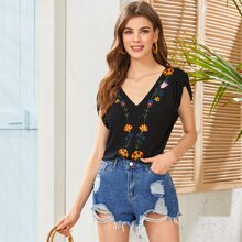 Gathered Shoulder Floral Embroidery Top