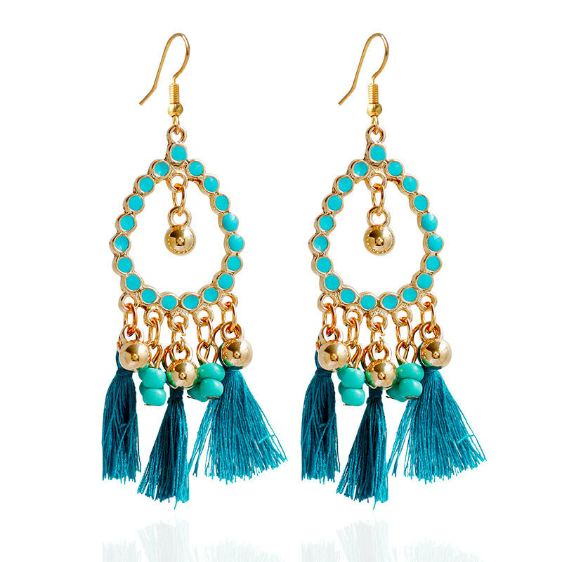 Women's Bohemian Earrings Beads Drop Tassel Earrings