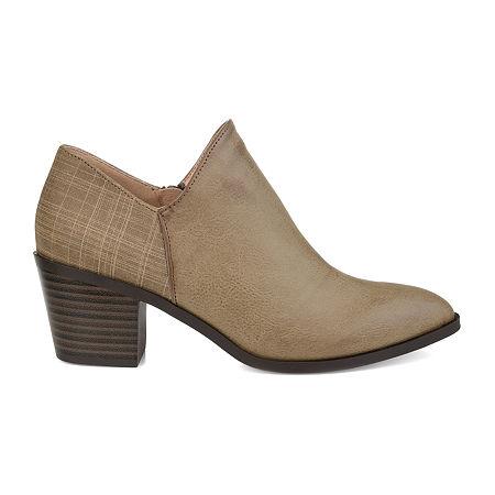 Journee Collection Womens Adison Stacked Heel Booties, 10 Medium, Beige