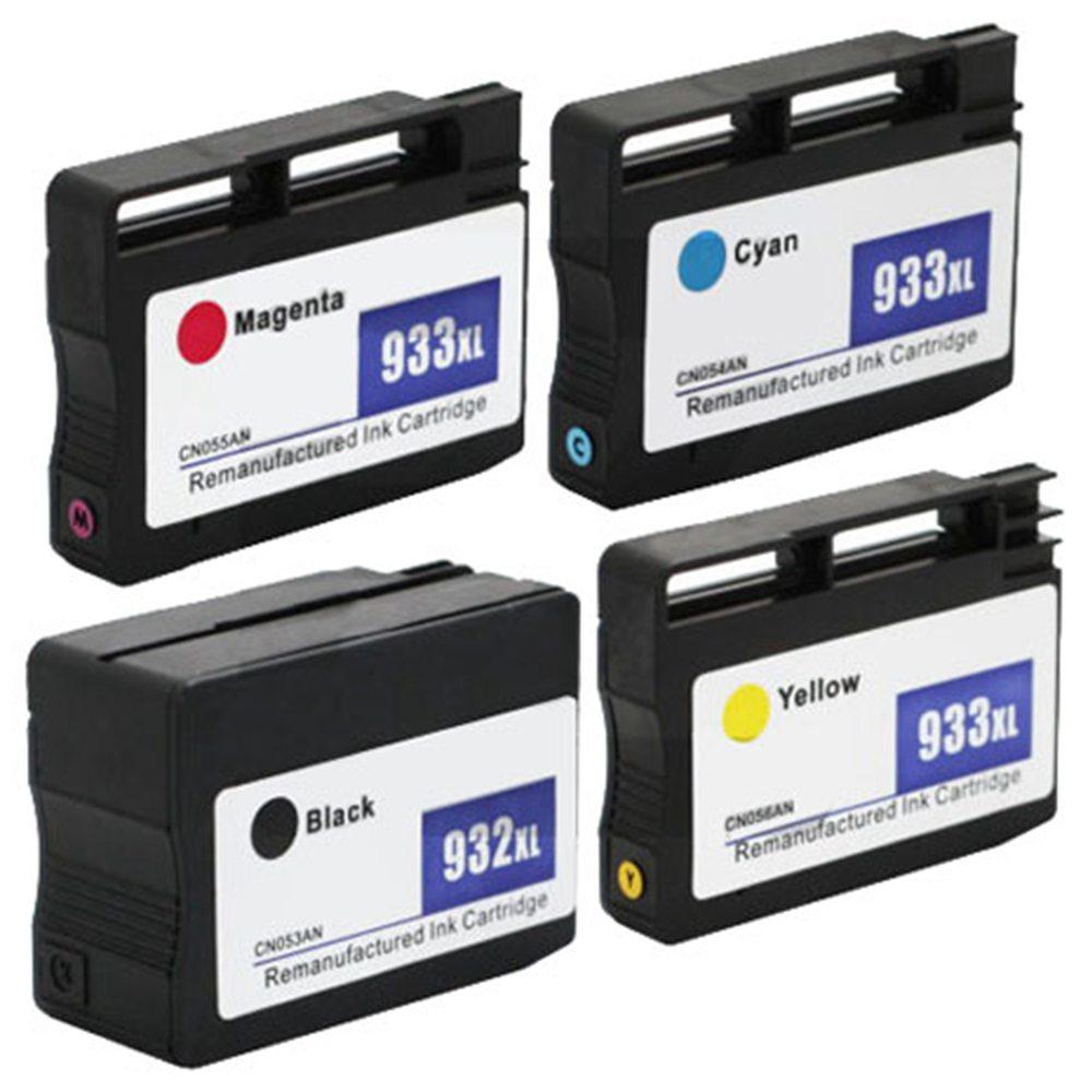 4PCS HP 932 / 933XL Ink Cartridge 1BL / 1C / 1M / 1Y Anti-fading Document Image Printing - Black