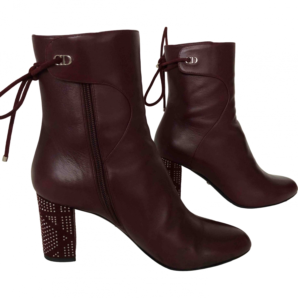 Dior \N Burgundy Leather Ankle boots for Women 37.5 EU