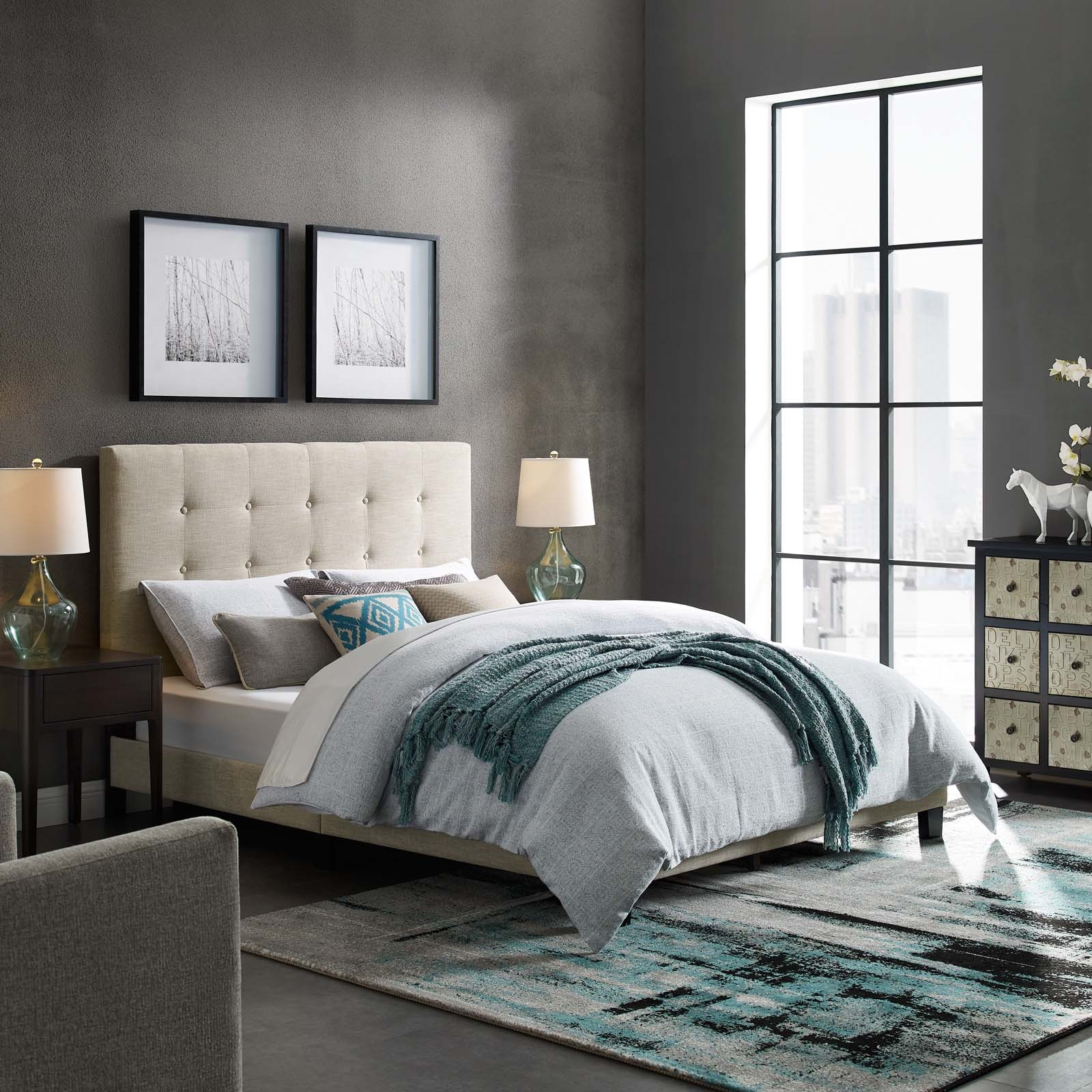 Melanie Queen Tufted Button Upholstered Fabric Platform Bed in Beige
