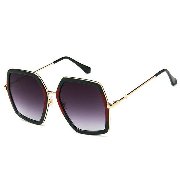 Women Vintage Patchwork Large Frame Sunglasses Casual Visor UV400 All-match Sunglasses