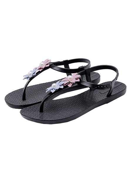 Milanoo Womens Black Flat Sandals For Thong Starp Beach With Flowers Shoes