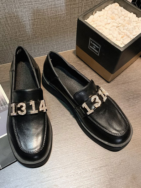 Milanoo Black Loafers Women PU Leather Round Toe Metal Details Casual Shoes