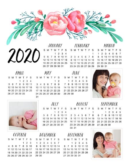 Calendar 11x14 Adhesive Poster, Home Décor -Floral