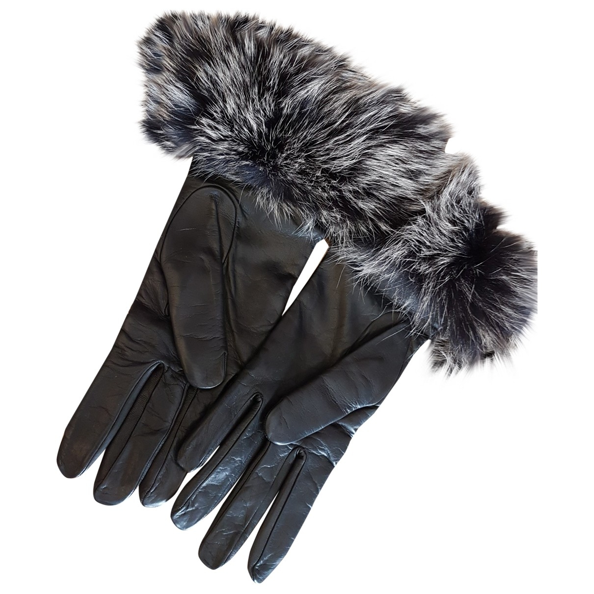 Ermanno Scervino \N Black Leather Gloves for Women 7.5 Inches