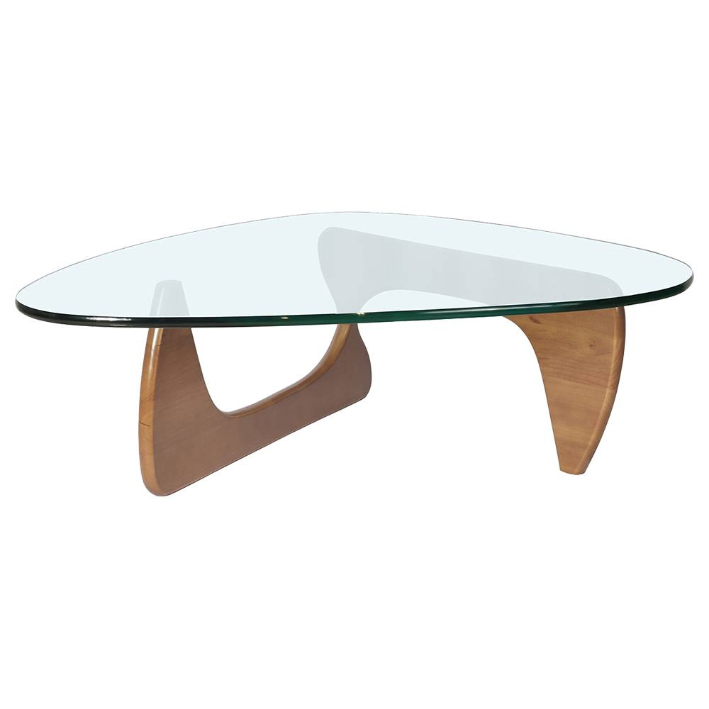 Triangular Glass Coffee Table Heat-resistance Modern Furniture For Home and Office - Light Walnut