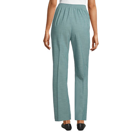 Alfred Dunner Womens Straight Flat Front Pant, 12 Short , Green