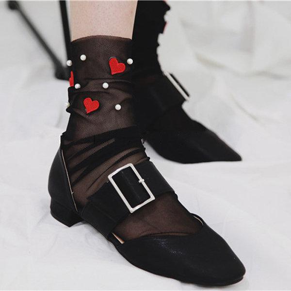 Women Girl Heart Flower Pearl Push Socks Summer Glass Mesh Harajuku Style Sock