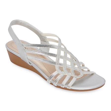 east 5th Womens Reno Wedge Sandals, 6 1/2 Medium, Silver
