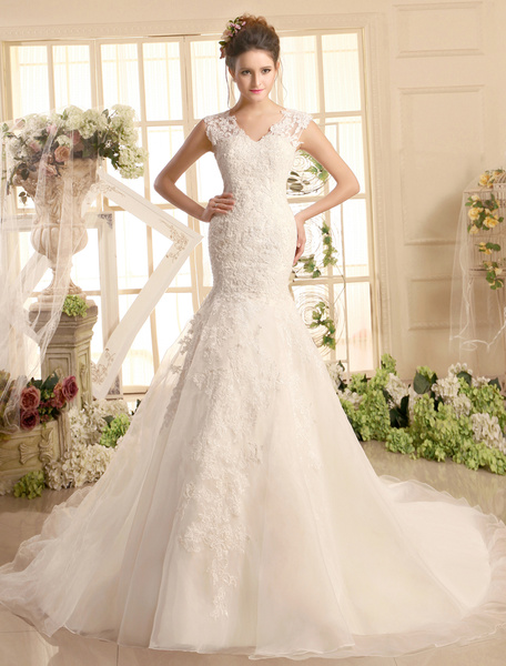 Milanoo Wedding Dresses Lace V Neck Mermaid Bridal Dress Ivory Illusion Organza Wedding Gown