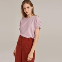 Pleated Detail Cuff Batwing Sleeve Solid Top