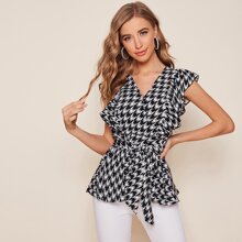 Ruffle Armhole Belted Houndstooth Top