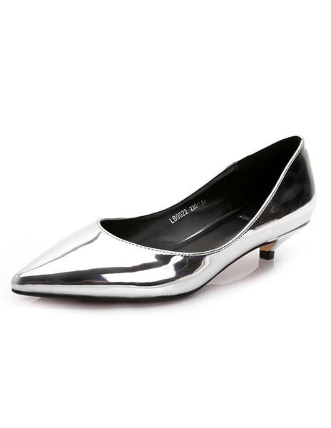 Milanoo Women's Low Heel Patent Pumps Pointed Toe Kitten Heel Shoes
