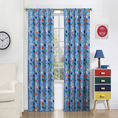 Eclipse Field Day Blackout Rod-Pocket Single Curtain Panel, One Size , Multiple Colors