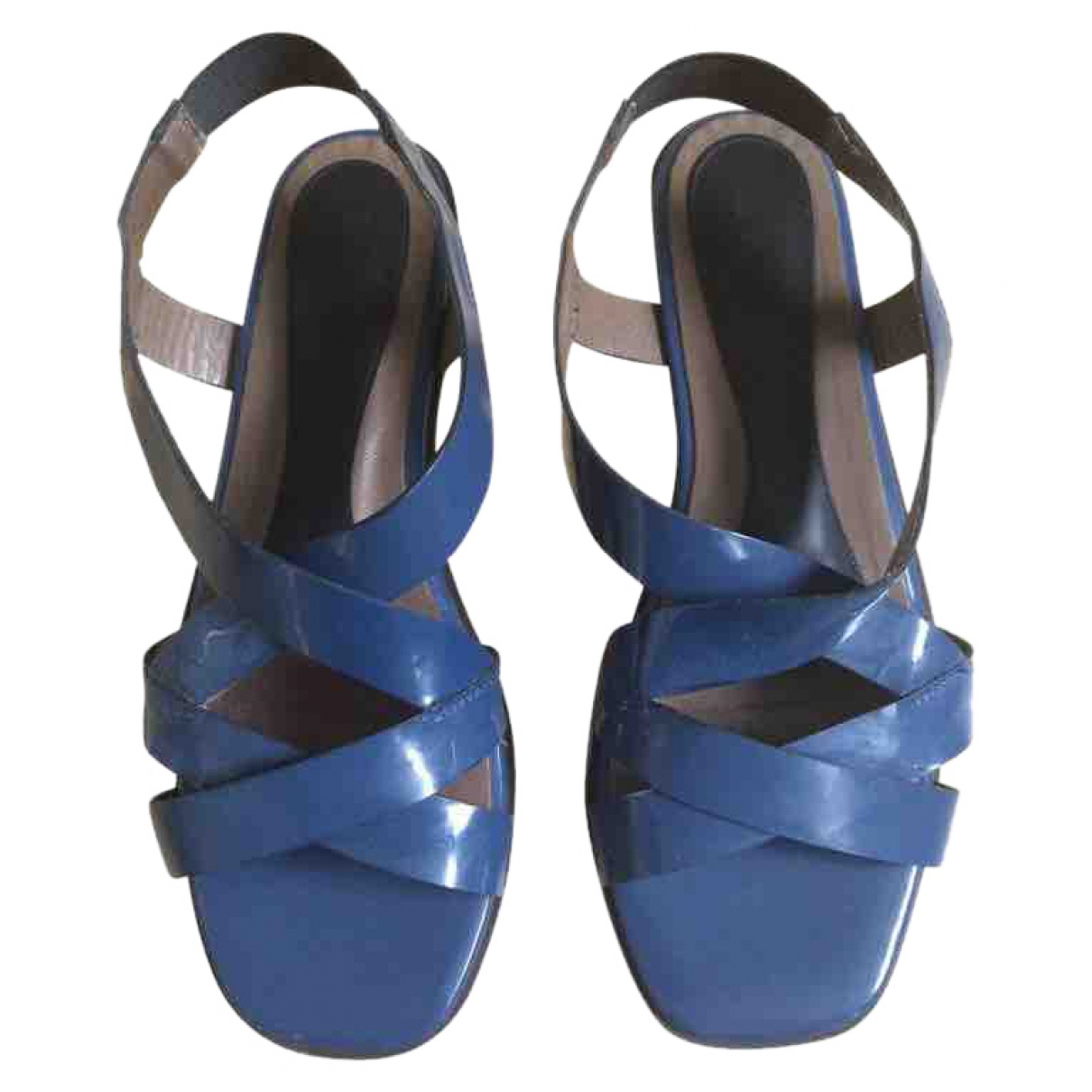 Marni \N Blue Patent leather Sandals for Women 37.5 EU